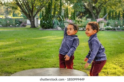 African-American four-year-old twin boys throwing small rocks  in Midwestern park in fall