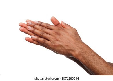 African-american male hands with palms rubbing together against white isolated studio background. Success or money anticipation