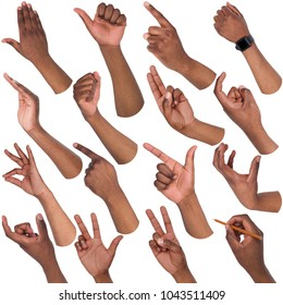 African-american man hands showing symbols and gestures, like, offering, ok, writing, isolated on white background. Set of male hands.