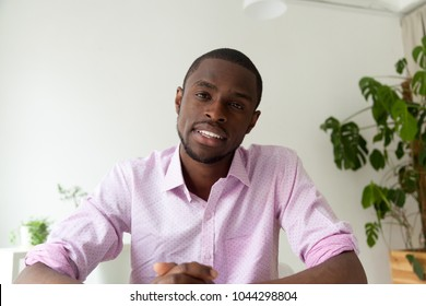 African-american man talking looking at camera, black man vacancy candidate making video call for distance job interview, dark-skinned vlogger recording videoblog, view from webcam, headshot portrait