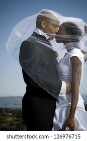 African-American newlywed couple