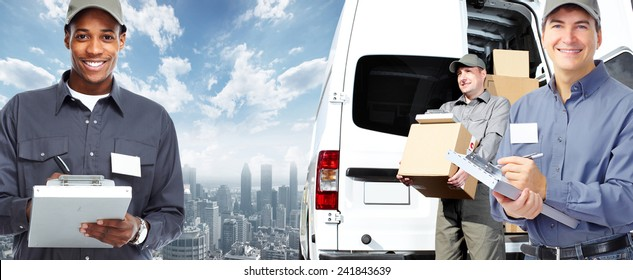 African-American postman. Delivery and shipping background
