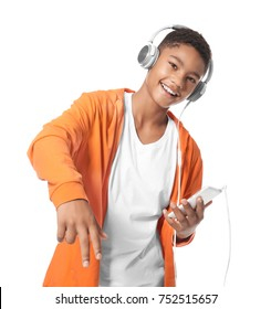 African-American teenager with headphones on white background