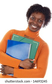 African-American university student a over white background
