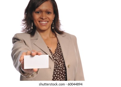 african-american woman holding a blank businesscard on a white background