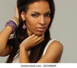 African-american woman on isolated background