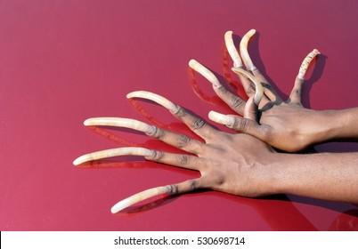 African-American woman's very long fingernails. Horizontal