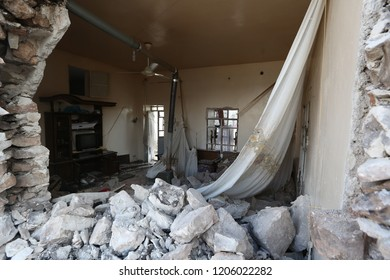 Afrin /Syria - March 2018: A demolished house in Afrin