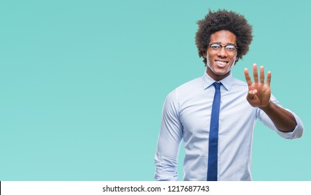 Afro american business man wearing glasses over isolated background showing and pointing up with fingers number four while smiling confident and happy.