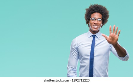 Afro american business man wearing glasses over isolated background showing and pointing up with fingers number five while smiling confident and happy.