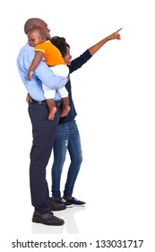 afro american young family pointing at empty copy space isolated on white background