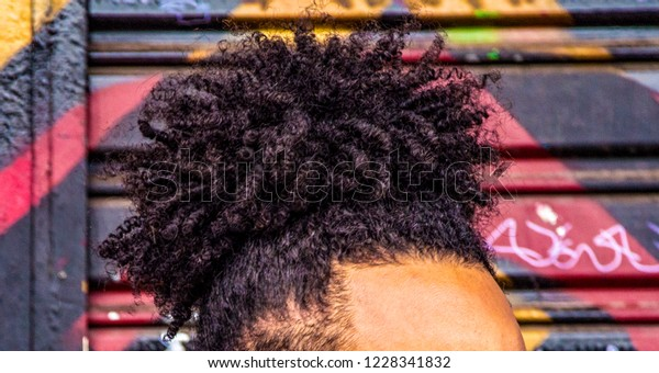 Afro Curly Hair Isolated Closeup Caption Stock Photo Edit