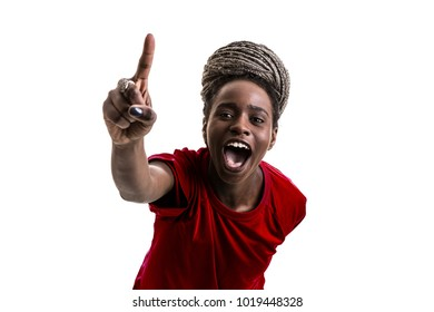 Afro girl wearing red uniform celebrates on white background