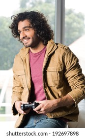 afro man playing video games