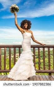 Afro Woman Bride with Beautiful  Wedding Dress
