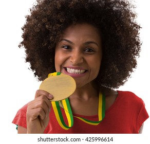 Afro woman fan on red uniform celebrating