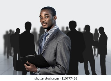 Afro-American businessman with his team
