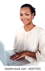 Afro-american businesswoman using a laptop isolated on a white background