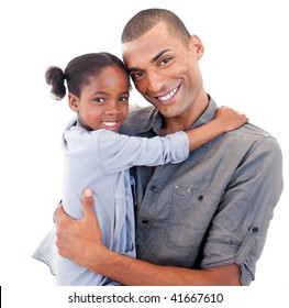 Afro-American father holding her little daughter agaisnt white background