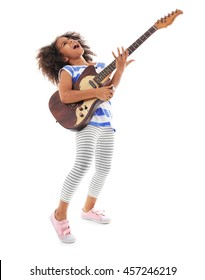 Afro-American little girl with curly hair playing guitar isolated on white