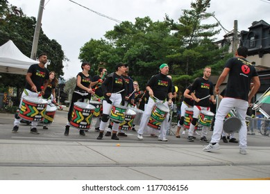 Afro-Brazilian Percussion Group Playing Drums In The Streets - Toronto, Ontario, Canada - September 9, 2018