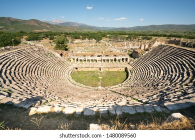 Afrodisias Ancient city (Aphrodisias). Roman ancient amphi-theater from in Caria. The UNESCO World Heritage. Karacasu - Aydın, TURKEY