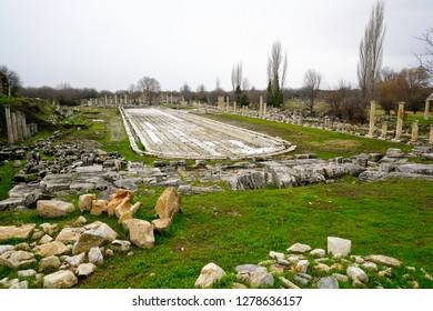 Afrodisias Ancient city.  Gigantic Roman swimming pool from Aphrodisias Ancient City in Caria,. Karacasu - Aydın, TURKEY