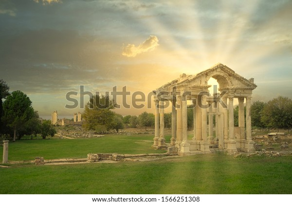 Afrodisias (Aphrodisias) Ancient city in Karacasu - Aydin, Turkey. Tetrapylon Gate of Aphrodisias ancient city. The most famous of cities called Aphrodisias.