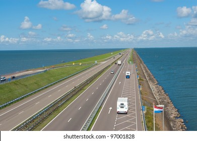 Afsluitdijk dam in Holland (Netherlands). Dam road