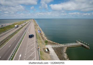 The Afsluitdijk. a huge dike between the Waddenzee end the IJsselmeer. Holland, Netherlands