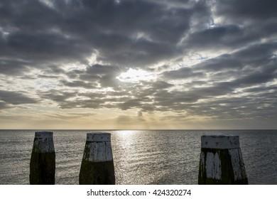 Afsluitdijk and jetty  between Friesland and Noord-Holland at the IJsselmeer.