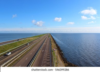Afsluitdijk, Netherlands, April 2016. View of major causeway in the Netherlands from panoramic tower.