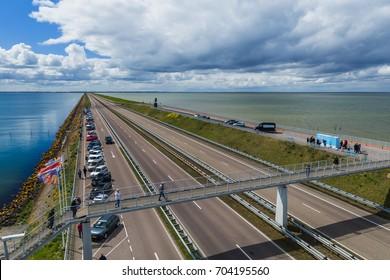 Afsluitdijk, Netherlands - April 28, 2017: Road on Afsluitdijk dam.