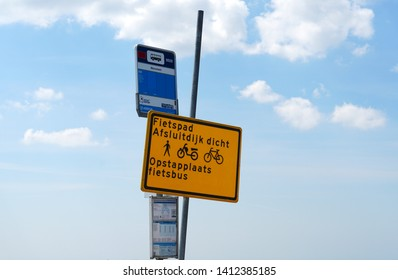 Afsluitdijk, the Netherlands. May 2019. Bus stop for cyclist on the Afsluitdijk. The afsluitdijk is closed for bicycles due to renovation and construction starting in 2019.