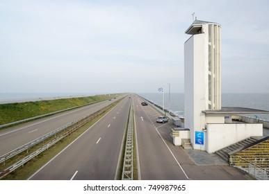 AFSLUITDIJK, THE NETHERLANDS - OKT 2017: Monument on Afsluitdijk. The dike is the watercourse between North Holland and Friesland, which closes the IJsselmeer from the Wadden Sea.