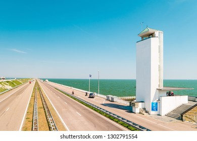 Afsluitdijk, The Netherlands - september 2018: The Afsluitdijk is the flood defense between Noord-Holland and Friesland, which closes off the IJsselmeer from the Wadden Sea.