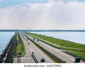 Afsluitdijk, The Netherlands - september 3 2017: The Afsluitdijk is the flood defense between Noord-Holland and Friesland, which closes off the IJsselmeer from the Wadden Sea.