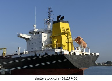 Aft part of  Tanker vessel moored at the Oil jetty