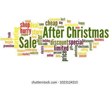 After christmas sale word cloud concept on white background.