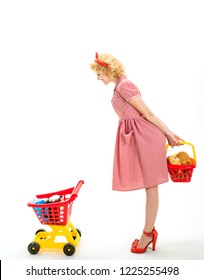 After day shopping. Next stop is shop. This is for you. happy retro woman go shopping. happy housewife is crazy about shopping and she is pleased of products. grocery shop advertisement, copy space.