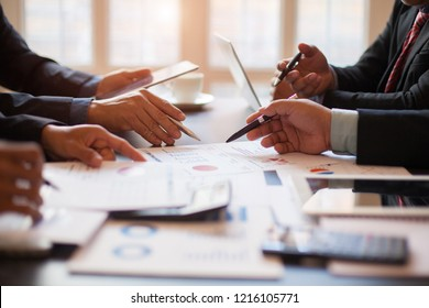 After meeting business people shaking hands with new partner meeting  to jointly invest in business together , meeting business group concept