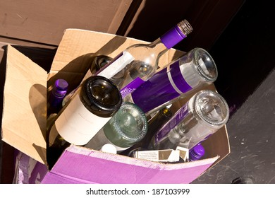 After the Party Empty Wine Bottles