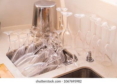 After party in luxury yacht with mamy wine glass in sink, vacation holidays concept yachts in the sea, luxury summer cruise.