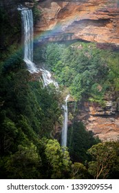 After rain and fog all day the clouds parted briefly for some sun and a rainbow at Katoomba Falls