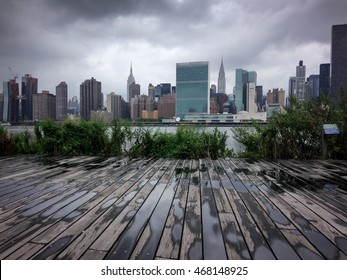After rain in New York City. View on Manhattan from Queens.