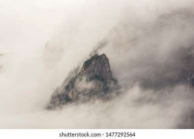 After storm scenery in the Alps, in summer, with beautiful rain clouds