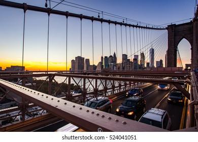 After sunset on Brooklyn Bridge, Manhattan, New York