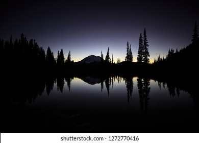 After Sunset On Lake Tipsoo In Mt. Rainier National Park