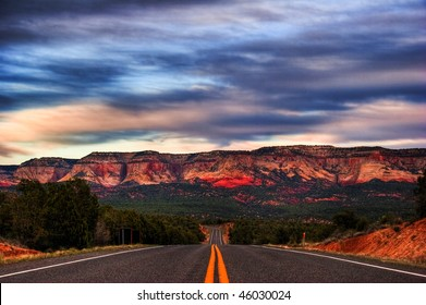 After sunset on road from Zion Canyon