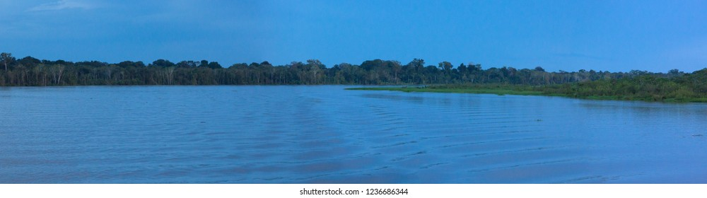 After sunset panopramic landscape on the river in the Amazon State in Brazil